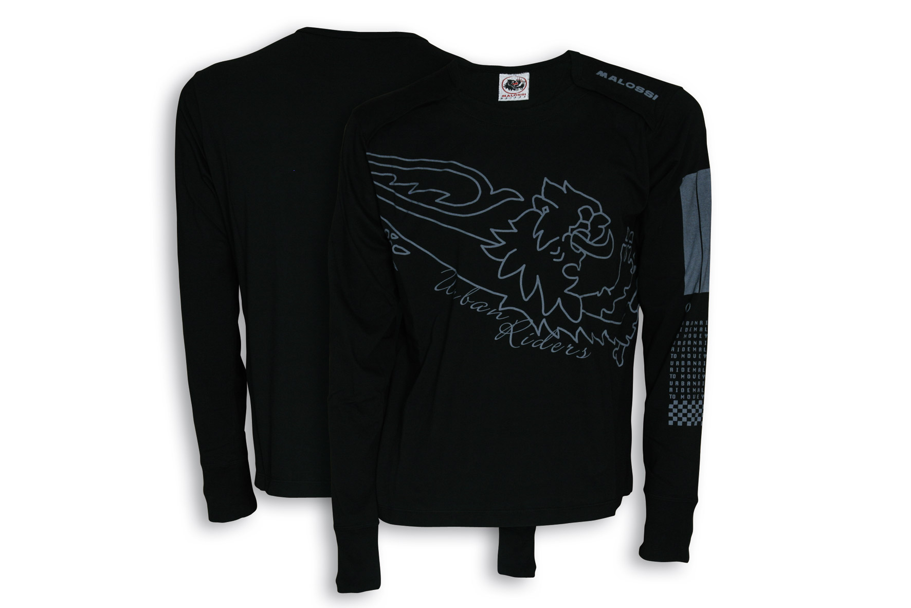 BLACK T-SHIRT MALOSSI griffe (LONG sleeve) - BAR CODE ( M )