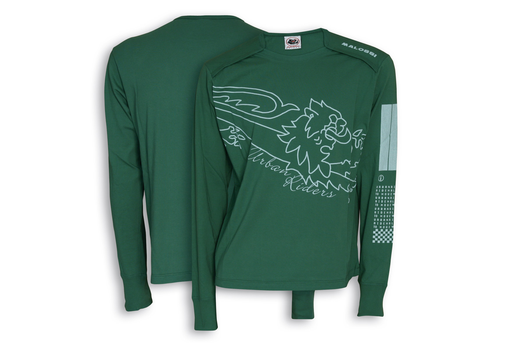 MILIT. GREEN T-SHIRT MALOSSI griffe (LONG sleeve) - BAR CODE ( S )