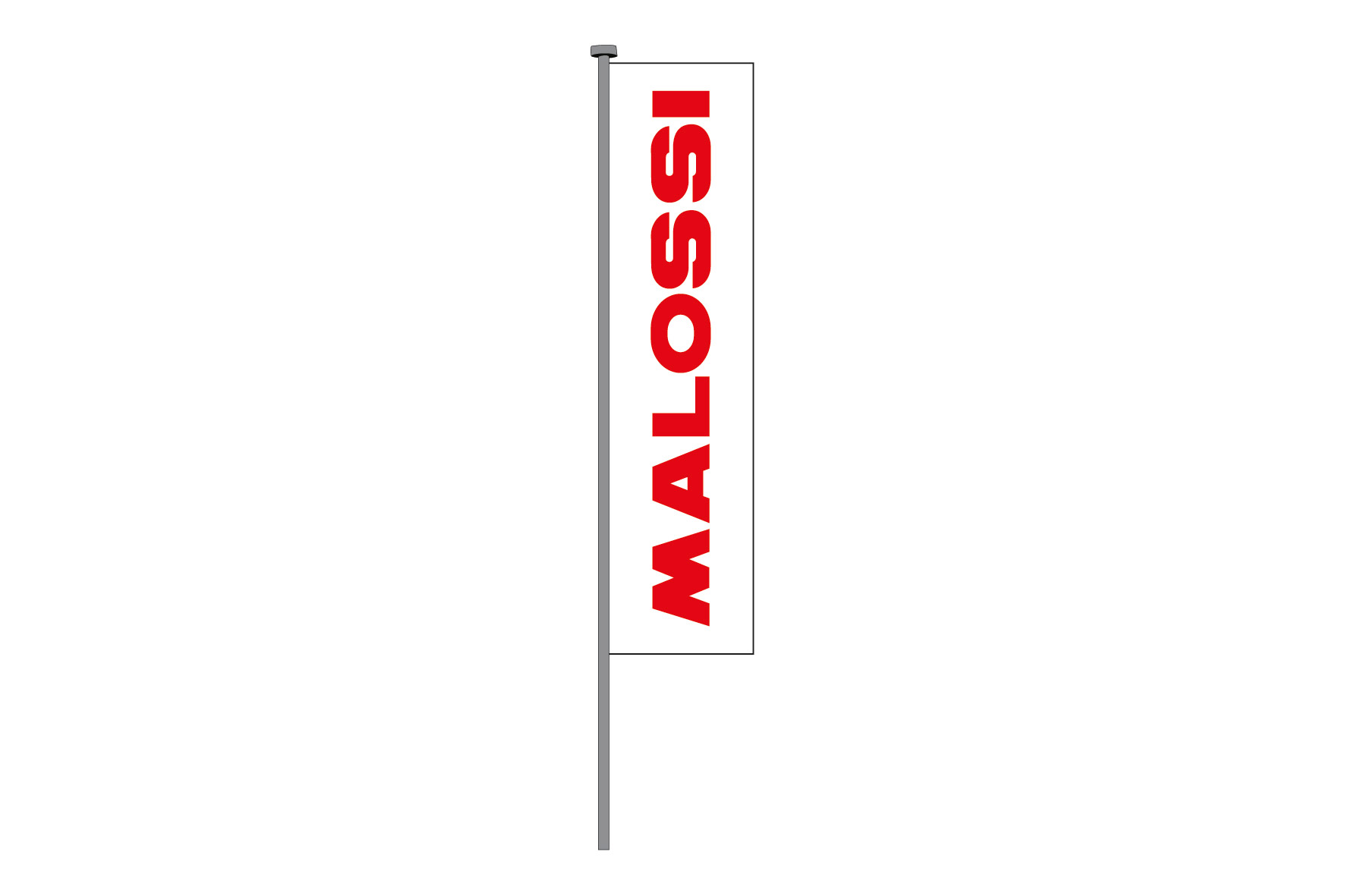 WHITE ground FLAG/RED MALOSSI , 70x220cm