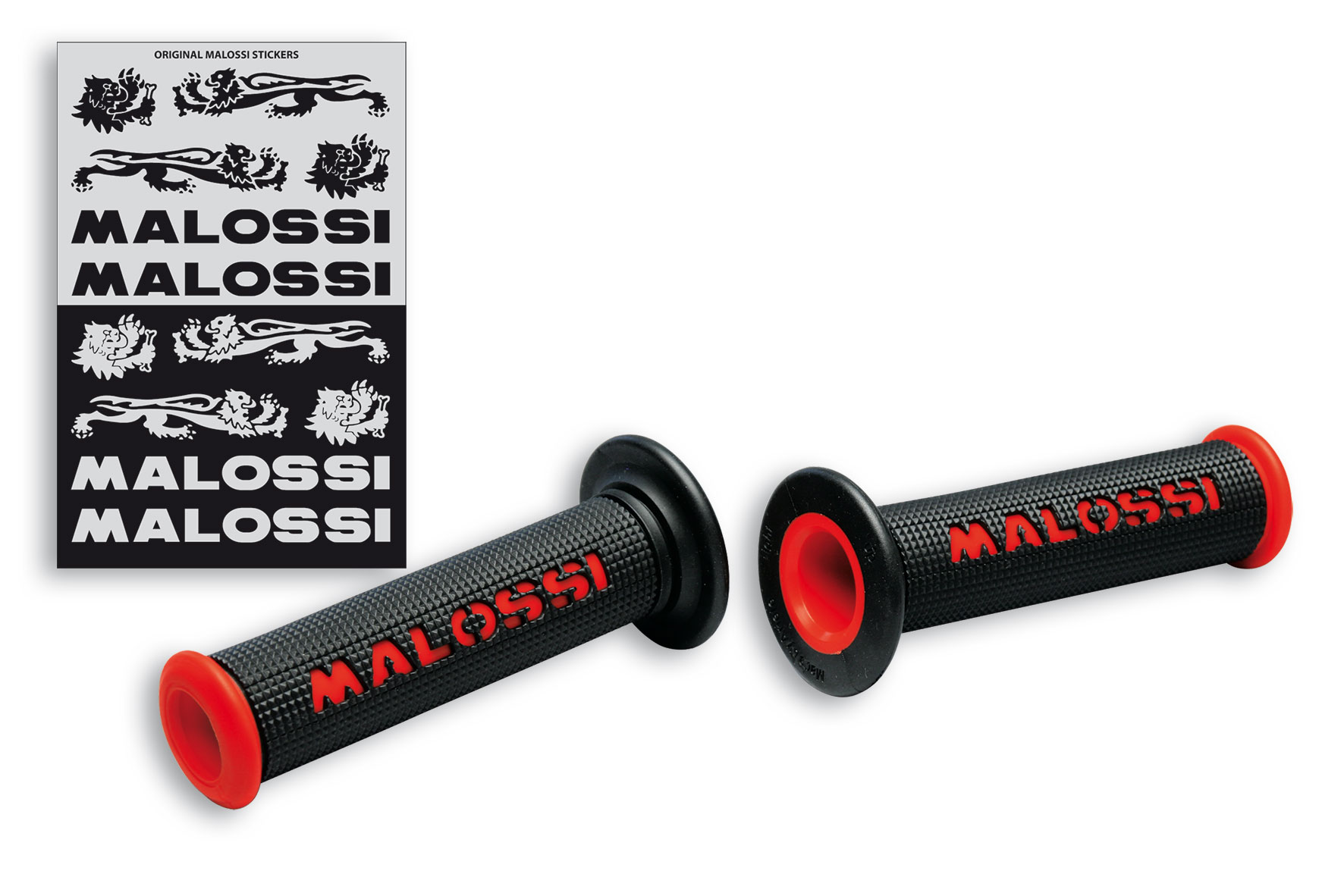 2 BLACK GRIPS with RED Malossi logo (mod. without side fastening)