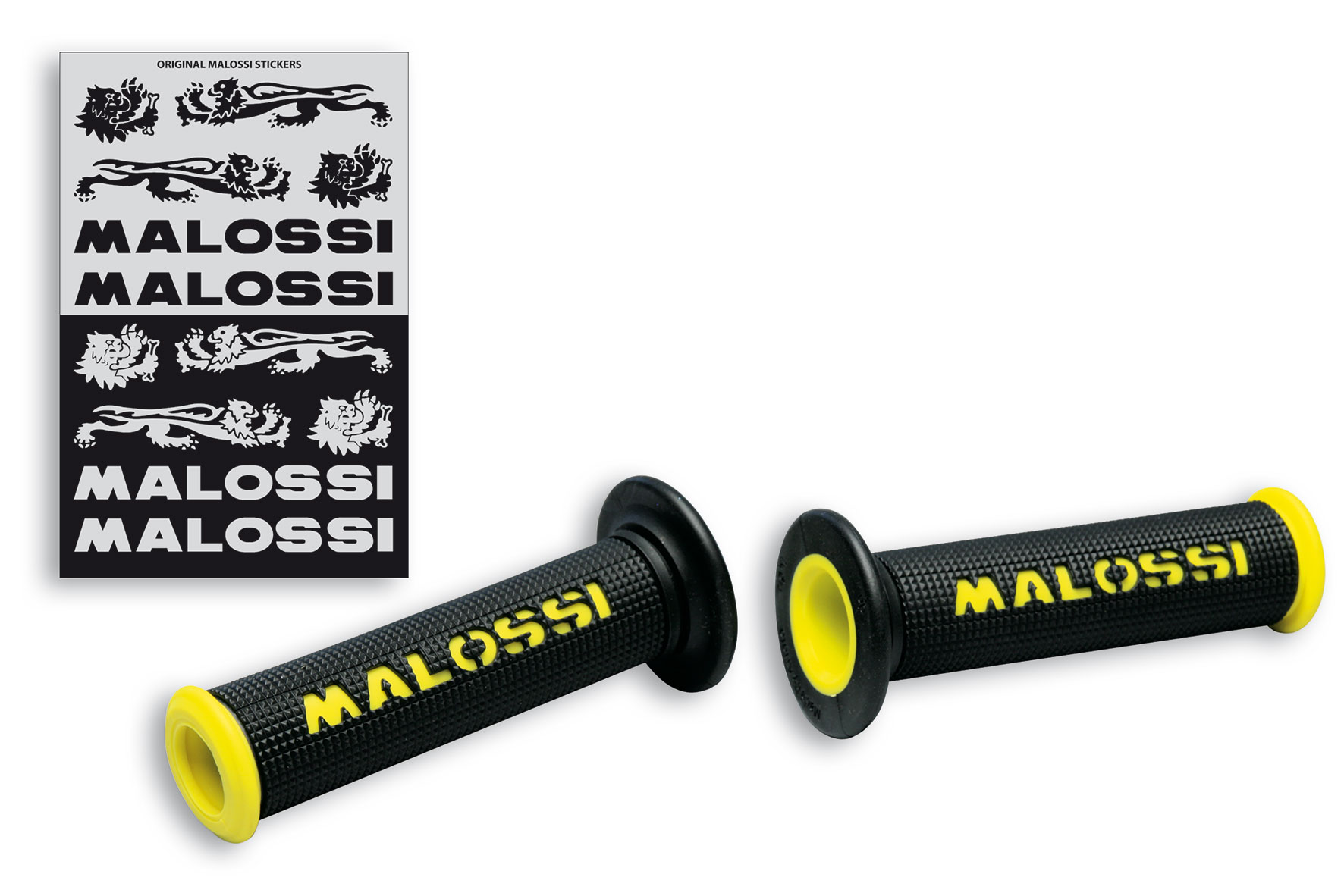 2 BLACK GRIPS with YELLOW Malossi logo (mod. without side fastening)