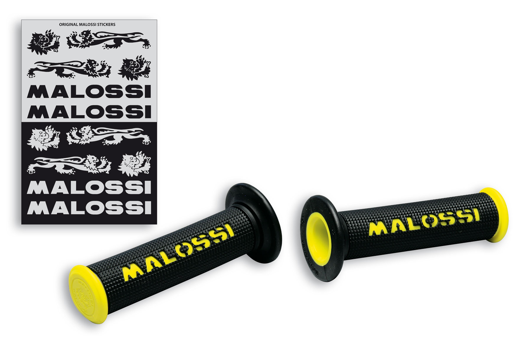 2 BLACK GRIPS with YELLOW Malossi logo (mod. with side fastening)