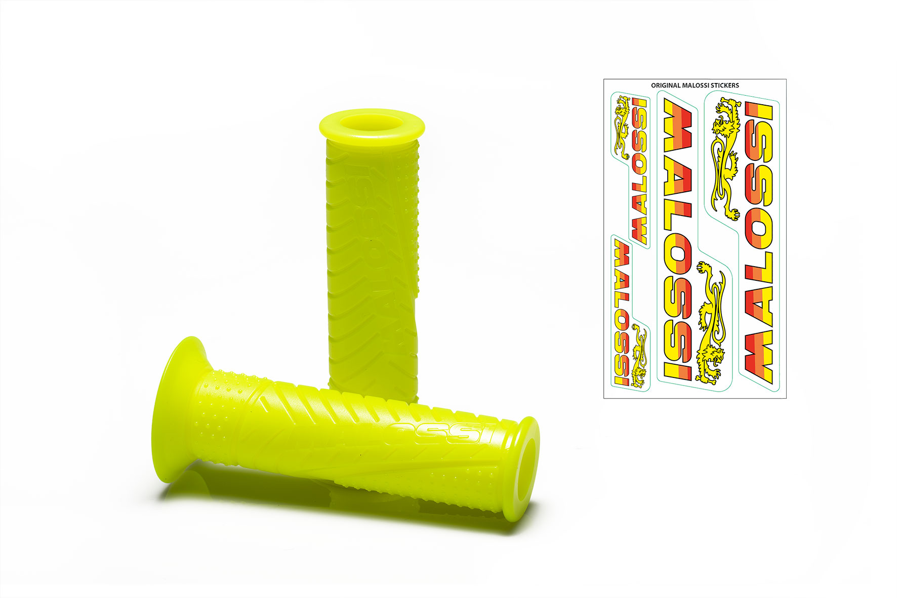 2 MALOSSI MHR FLUO YELLOW GRIPS (mod. without side fastening)
