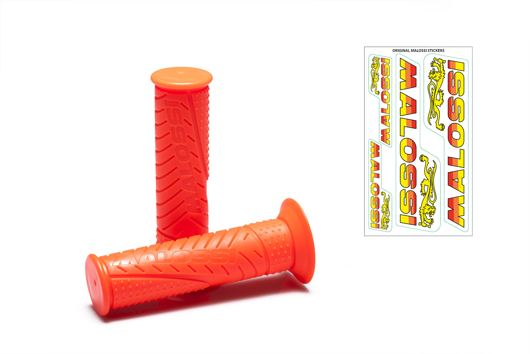 2 MALOSSI MHR FLUO ORANGE GRIPS (mod. with side fastening)