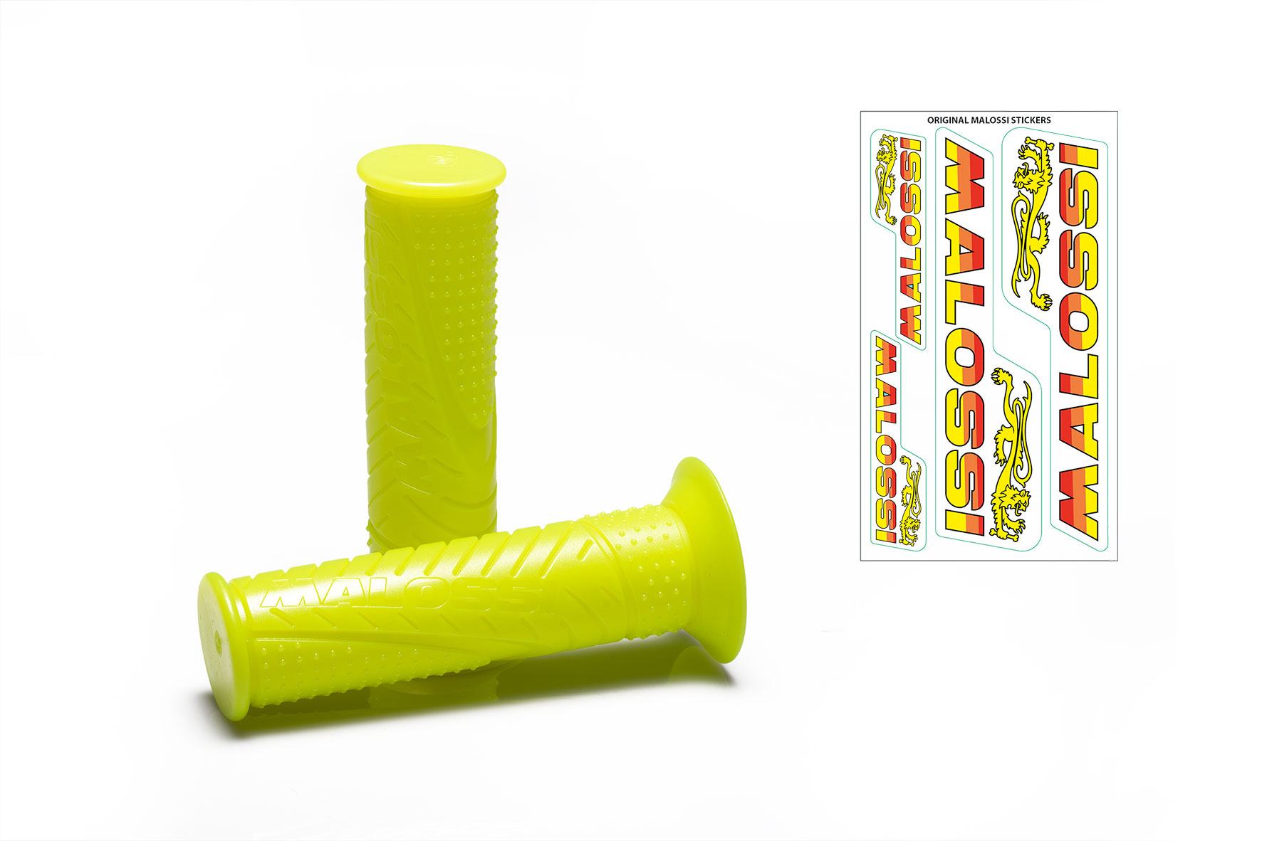 2 MALOSSI MHR FLUO YELLOW GRIPS (mod. with side fastening)